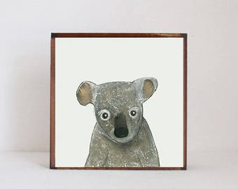 koala wall art, koala nursery art, koala nursery decor, australian animals, animal print, nursery decor, redtilestudio, pink nursery