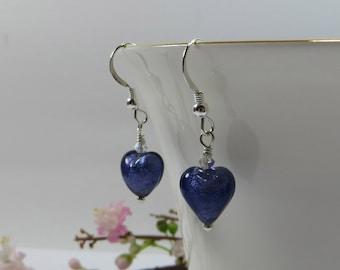 Mini Heart Earrings, Purple Venetian Murano Glass Mini Hearts w Swarovski Crystal & Sterling Silver, Little Purple Heart Earrings