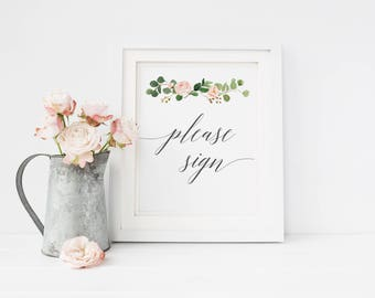 Please Sign Printable, Guest Book Sign Instant Download Calligraphy Wedding Sign Guestbook, Wedding Signage, Sign our guestbook #MG001