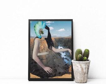 "Paper collage art, surreal art print, canyon wall art, Pocahontas original art, mixed media collage art, boho art print - ""See through me""."