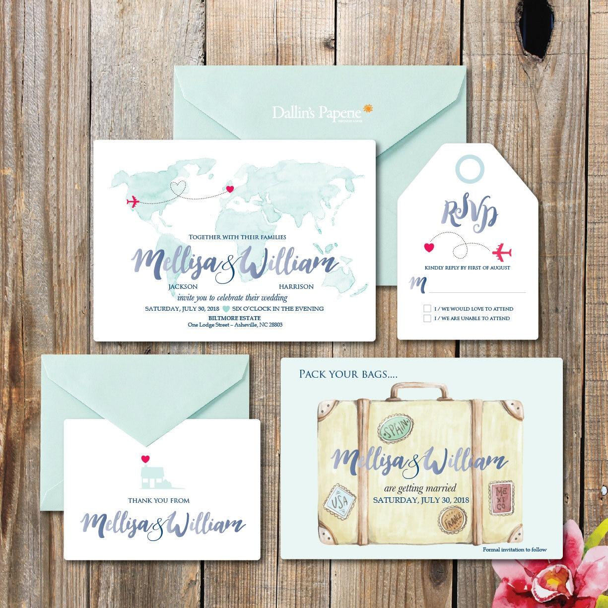 Destination Wedding watercolor Invitation printables beach