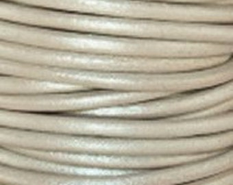 1mm Round Leather Cord Metallic Pearl : 2 yards 1.83m