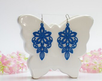 Chandelier earrings, Solar blue earrings, Embroidery lace, Wedding jewelry, Blue lace, Vintage earrings, Floral earings, Lace gift for her