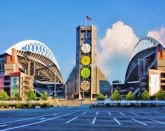 Seattle Seahawks, Qwest Field, Seahawks, Man Cave, College Dorm, Football Stadium, Sports Art, Large Art Print, Available on Canvas