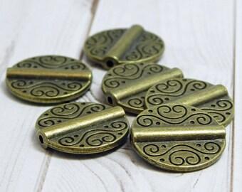 6pcs - 20mm - Metal Beads - Metal Pendant - Focal Beads - Bronze Beads - Pewter Beads - Lead Free Beads - (967)