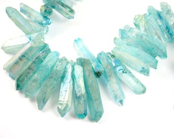 Natural Raw Titanium Crystal Points Beads, Turquoise Crystal Sticks,Long Multi Faceted Raw Crystal,Spike Pendant Bead,Stick Beads-SKU:380001