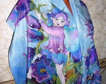 Silk scarf batik, hand-painted, Fairies, elves, bells, hot batik, natural silk, women's accessories,natural silk, 55.12-15.75 inches