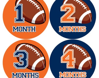 Baby Boy Monthly Baby Stickers Baby Month Stickers Football Stickers Monthly Photo Stickers Monthly Milestone Stickers 1007