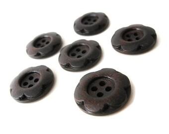 10 Dark Brown wood button with flower 20mm