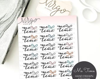 Me Time Hand Drawn Bow Planner Stickers - Me Time Planner Stickers, Self Care Planner Stickers, Bows, Matte, Glossy Planner Stickers RMT
