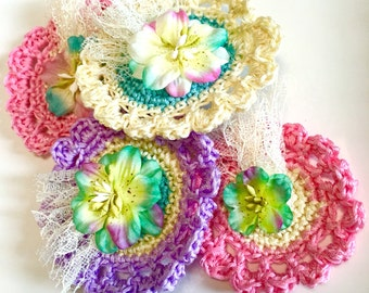 Fancy Embellished Crochet Flowers, Mothers Day Flowers, Flower Appliques with fabric flowers, glitter, wedding flowers, pastel colors,