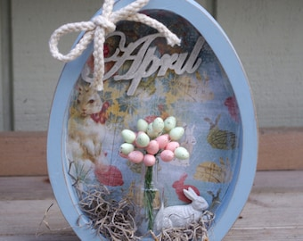 Wood Easter Egg Shadow Box, Easter Decor, Spring Decor