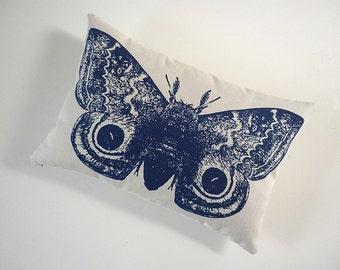 Giant IO Moth silk screened cotton canvas throw pillow NAVY 18x12