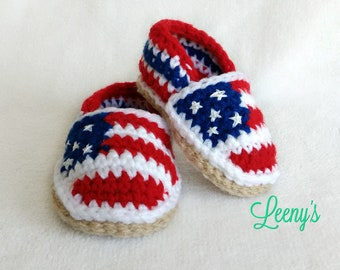 Crochet Patriotic Baby Shoes / American Flag Espadrilles / 4th of July Baby Shoes / USA Independence Day Outfit