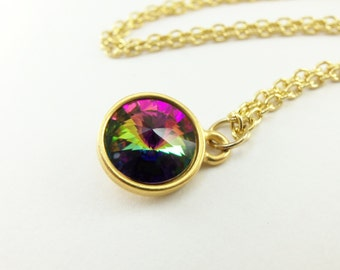 Gold Rainbow Necklace Multi Color Crystal Necklace Gold Jewelry Rainbow Jewelry