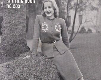ON SALE Vintage 1940s - Paton's Knitting Pattern No 203 For Women/Ladies - Original Pattern