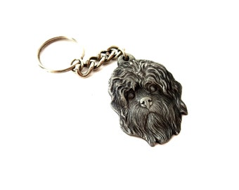 I Heart My Dandie Dinmont Terrier Signed Rawcliffe Pewter 1982 Vintage Silver Tone Metal Detailed Dog Face Silhouette Keychain