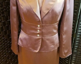 Adrianna Ladies Dress Suit Size 10 Mauve Silk Blend  Free Shipping Vintage 90s style Wedding Mother of the Bride Cruise Party Holidays