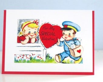 Vintage Style Valentine Greeting Card Mailman by writeables