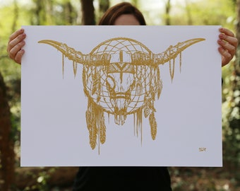 Screen printed design painting dream catcher dream-Gold-Limited Edition - ethnic - Indian - head death-feather-Horn-handmade