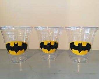 25 Plastic Batman Party Cups-12 oz