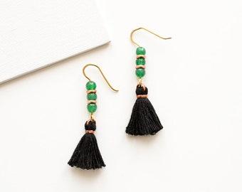 Green Agate Earrings, Black Tassel Earrings, Shoulder Duster Earrings, Fringe Earrings, Pompom Earrings, Tassle Jewelry, Beaded Earrings