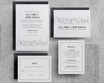 Las Vegas Wedding Invitation, Las Vegas Invite, Las Vegas Skyline, Las Vegas Printable, Vegas Save the Date, Las Vegas Event