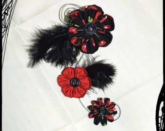 """Cherries"" spiral kanzashi hair clip"