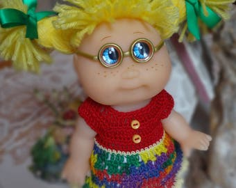 Crochet Dress for 8 inch Norma Jean Cabbage Patch doll Yellow Red Blue Green Purple Buttons
