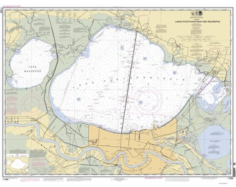 Lakes Pontchartrain & Maurepas New Orleans 2012 Nautical Old Map Reprint - Louisiana - 80000 AC Chart 1269