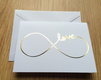 Love infinity gold foil card/ Valentines Day card/ love note card/ blank card/ anniversary card/ wedding card