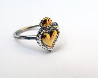 Sacred Heart Ring/ Sacred Heart/ Heart Sacred/ Silver Heart Ring/ Milagros Ring/ Heart Ring/ Christian Ring/ Flaming Heart Ring