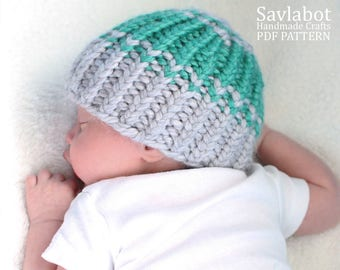beanie pattern - infant beanie - ribbed knit beanie pattern - PDF beanie pattern no. 006