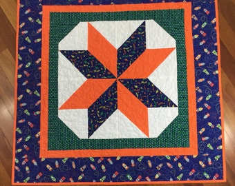 "Baby quilt  star quilt  rocket ships outer space star  40"" x 40"""