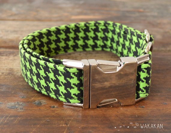 Houndstooth Black and Mint  dog collar adjustable. Handmade with 100% cotton fabric. Buckle side release. Green Wakakan