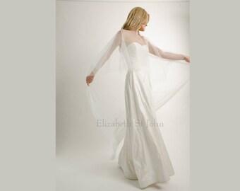 Sweep length Hi-Lo Bridal Cape - Tulle - cover up - veil alternative | bride |modern bride
