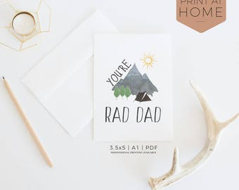 You're Rad Dad| Printable Birthday Card | Manly Mountain Camping Scene, Black & Gray, Card For Him, New Dad Card, Printing Available