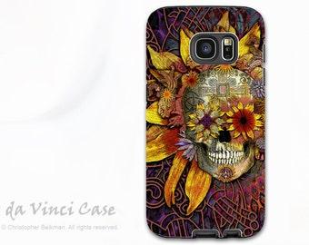 Sunflower Sugar Skull Case for Samsung Galaxy S7 EDGE - Premium Dual Layer S 7 EDGE Case with Botanical Skull Art - Origins Botaniskull