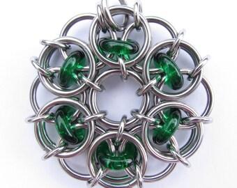 Green Chain Maille Pendant, Glass Pendant, Emerald Green Pendant, Glass Jewelry