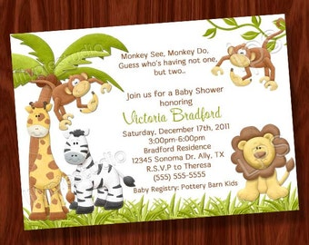 Monkey Twin Baby Shower Invitation and book request card PRINTABLE Digital Files
