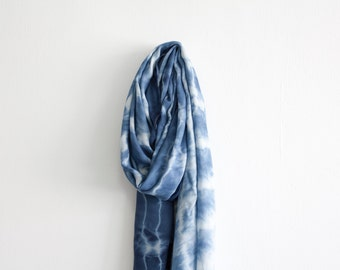 Blue Summer Scarf / Nautical Light Wrap / Tie Dye Boho Scarf / Beach Pareo Sarong Wrap Scarf / Long Shawl / Nursing Scarf / Navy Blue Scarf