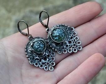 A TOUCH OF BLUE, boho drop earrings, rustic earrings, dark silver dangling earrings, statement earrings, old silver earrings