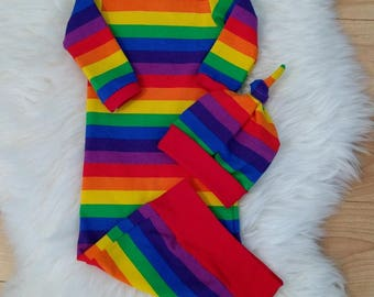 Ready to Ship Primary Colors Rainbow newborn take home, layette gown, coming home outfit, new baby gift, hospital outfit, baby shower gift