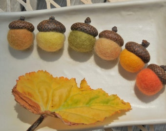 6 felted acorns /Autumn Colors / option to choose as an ornament