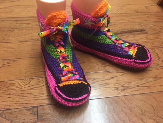 Tops Crochet Converse Rainbow Sneaker Shoes 8 Crocheted Slippers