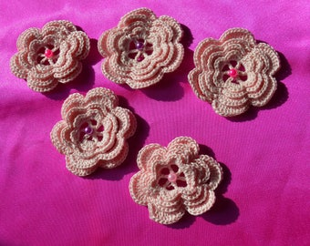 Set of 5 3D flowers with beaded sewing hearts pale pink