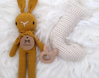 Ready to Ship! Crochet Rabbit Ochre yellow (small)