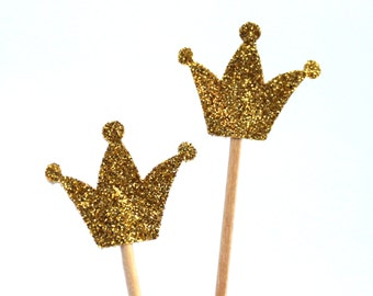 10 gold Toothpicks crown, Double Sided Party Picks, Cupcake Topper, Baby Shower Decoration, Birthday Pick, duchess kate