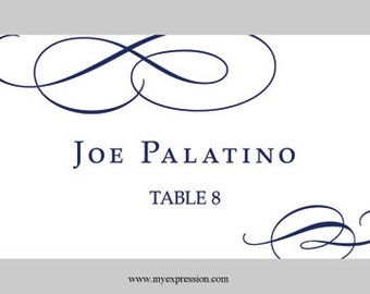 Wedding Place Cards (Flat ) Template – Calligraphic Flourish (Navy Blue) - Instant Download - Editable MS Word File