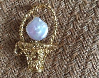 Baroque Pearl Basket Brooch- Gold color